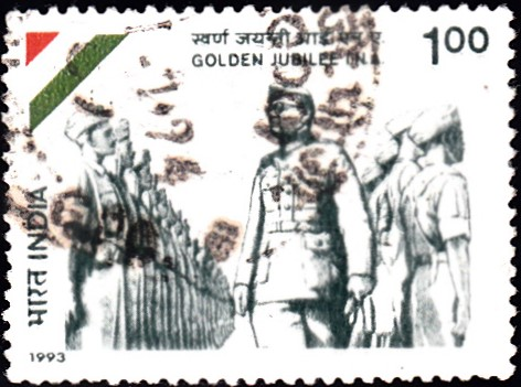 1398-subhas-chandra-bose-inspecting-i-n-a-troops-india-stamp-1993