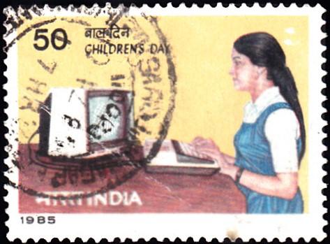 School Girl Using Computer