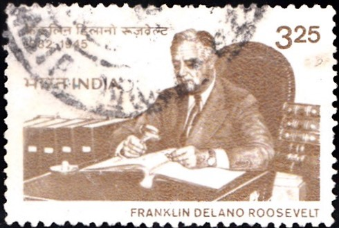 Franklin D. Roosevelt with Stamp Collection : Democratic Party (USA)