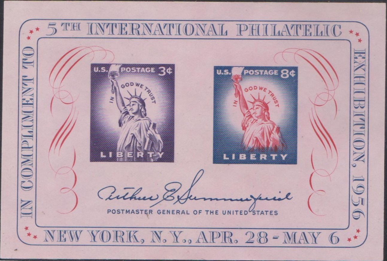 1075 Fifth International Philatelic Exhibition [United States Stamps, Souvenir Sheet 1956]