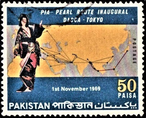 Japanese Doll and Map of Dacca-Tokyo Pearl Route