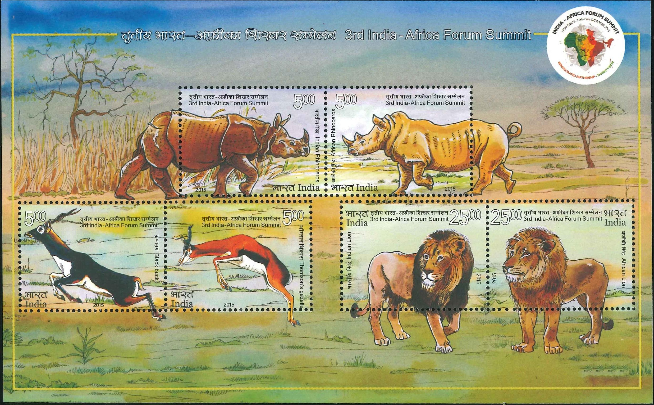 Indian & African Rhinoceros, Black Buck & Thomson's Gazelle,Indian & African Lion