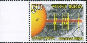 India Stamp 2008, John Evershed, centenary, discovery, solar, Sun