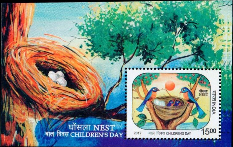 Children's Day 2017 : Birds with Eggs in Nest