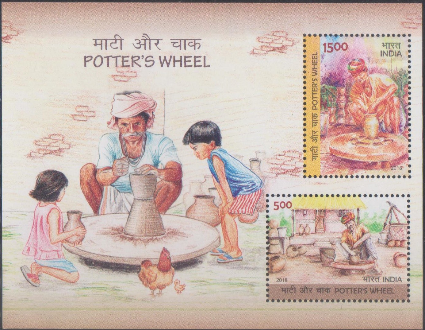 Indian Pottery : Potters working with Potter's Wheel