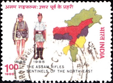 Rifleman of 1835 & 1985 and Map of North-East India (Seven Sisters)