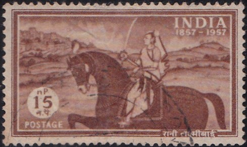 Rani of Jhansi with a Sword riding a Horse